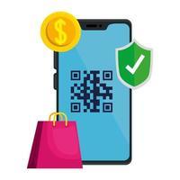 codice qr all'interno dello scudo della moneta dello smartphone e del disegno vettoriale della borsa