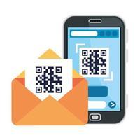 codice qr all'interno della busta e disegno vettoriale dello smartphone