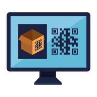 codice qr su scatola e disegno vettoriale del computer