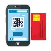 codice qr all'interno di smartphone e disegno vettoriale di carta di credito