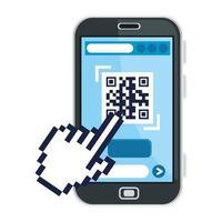 qr code all'interno dello smartphone e del cursore mano disegno vettoriale