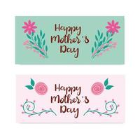 impostare le carte di felice festa della mamma con decorazioni di fiori