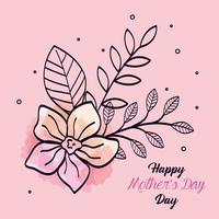 carta di felice festa della mamma con decorazione di fiori