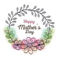 carta di felice festa della mamma e cornice circolare con decorazioni floreali