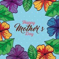 carta di felice festa della mamma con cornice di fiori e decorazioni di foglie