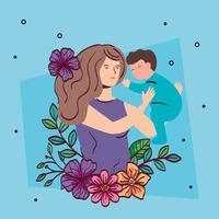 madre che alza neonato con decorazione di fiori