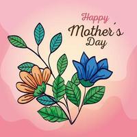 carta di felice festa della mamma con decorazioni di fiori e foglie