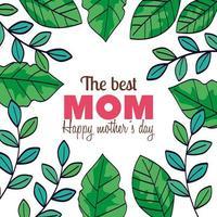 carta di felice festa della mamma con cornice di decorazioni di foglie