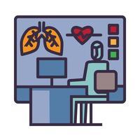 icona dell'esame di laboratorio finale sulla pandemia di coronavirus vettore