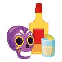 teschio messicano isolato e bottiglia di tequila e disegno vettoriale colpo