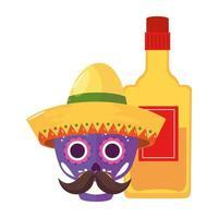 teschio messicano isolato con cappello e disegno vettoriale bottiglia di tequila
