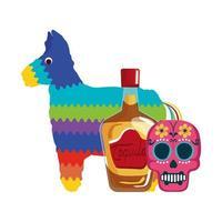 isolato messicano bottiglia di tequila pinata e cranio disegno vettoriale