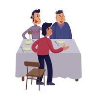 gruppo di uomini al tavolo piatto fumetto illustrazione vettoriale