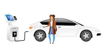 carattere senza volto di vettore di colore piatto autista di auto elettrica