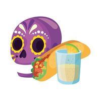 isolato teschio messicano burrito e tequila shot disegno vettoriale