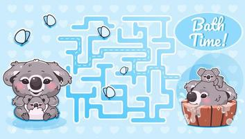labirinto del tempo del bagno con modello di personaggio dei cartoni animati vettore