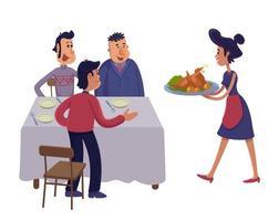 uomini che si riuniscono insieme al tavolo piatto fumetto illustrazione vettoriale