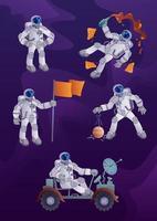 kit di illustrazioni per personaggi dei cartoni animati di cosmonauta 2d vettore