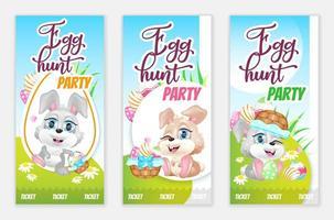 biglietti per feste di caccia alle uova, set di modelli vettoriali piatti di volantini gratuiti