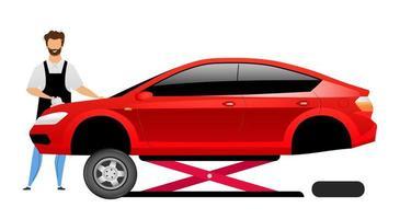 carattere senza volto di vettore di colore piatto meccanico auto