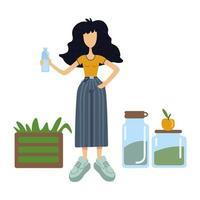 illustrazione vettoriale di cartone animato piatto zero rifiuti
