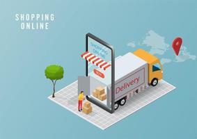 concetto di servizio di consegna online, monitoraggio degli ordini online, consegna logistica a casa e ufficio su dispositivo mobile. illustrazione vettoriale