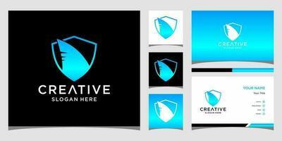 modelli di logo di squalo e design di biglietti da visita vettore