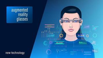 donna in occhiali per realtà aumentata vettore