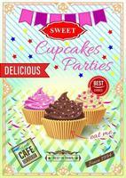 poster per feste cupcake vettore
