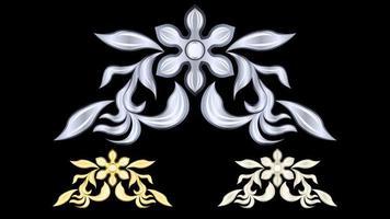 gesso, oro, stucco metallico argento, motivo isolato vettore