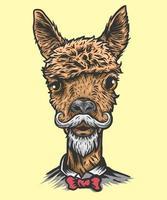 illustrazione di testa di alpaca vettore