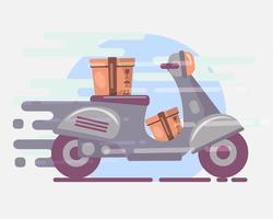 illustrazione di simbolo di concetto di consegna veloce del pacchetto vettore