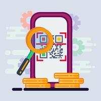 illustrazione di concetto di pagamento del codice qr di scansione dello smartphone