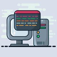 illustrazione di concetto di programmazione di computer in stile piano vettore
