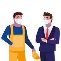 operatore e dirigente di uomini con maschera e casco
