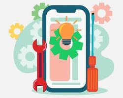illustrazione di concetto di sviluppo mobile in stile piano vettore