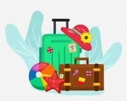 tempo di viaggiare concetto simbolo illustrazione in stile piatto vettore