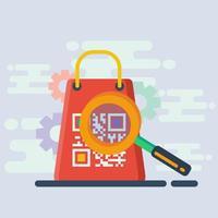 illustrazione di concetto di codice QR di scansione dello shopping