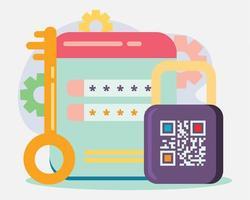 illustrazione di concetto di protezione con password in stile piano vettore