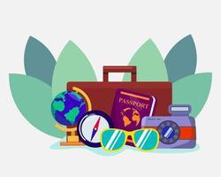 simbolo del concetto di viaggio per illustrazione di banner in stile piano