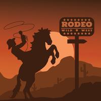 Silhouette di rodeo