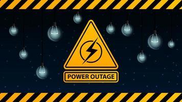 interruzione di corrente, logo di avvertenza giallo sullo sfondo del cielo stellato e lampadine spente vettore