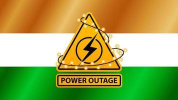 interruzione di corrente, segnale di avvertimento giallo avvolto con ghirlanda sullo sfondo della bandiera dell'india vettore