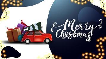 Buon Natale, cartolina bianca e blu con bellissime scritte, ghirlanda e auto d'epoca rossa che trasportano albero di Natale vettore