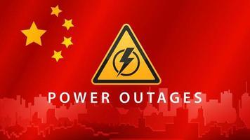 interruzione di corrente, segnale di avvertimento giallo sullo sfondo della bandiera della Cina con la silhouette della città sullo sfondo vettore