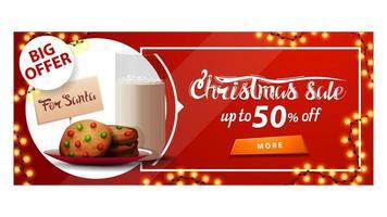 grande offerta, saldi natalizi, fino a 50 di sconto, banner sconto rosso con ghirlanda, bottone e biscotti con un bicchiere di latte per babbo natale vettore