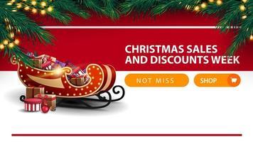 settimana di saldi e sconti natalizi, banner sconto bianco e rosso con pulsante, cornice di albero di natale, ghirlanda, striscia orizzontale e slitta di Babbo Natale con regali vettore