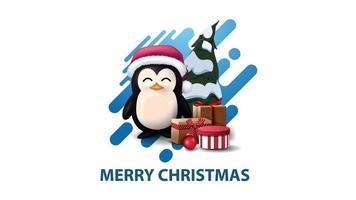 cartolina di Natale moderna minimalista bianca con forma liquida astratta blu e pinguino in cappello di Babbo Natale con regali vettore