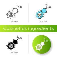 icona di azulene. composto scientifico. formula chimica per la cura della pelle. vettore