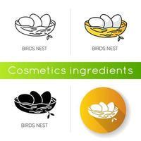 icona di nido di uccelli. allevamento di pulcini. componente del prodotto per la cura della pelle. vettore